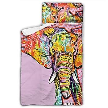 OTTOPT Kids Nap Mat Art Elephant Children Sleeping Mats with Blanket and Pillow Slumber Bag for Girl Boys Daycare Preschool Kindergarten Lightweight 50 X 20 Inch
