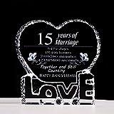 15 aniversario de cristal regalo para ella quince 15 años de matrimonio, cristal, pisapapeles recuerdo