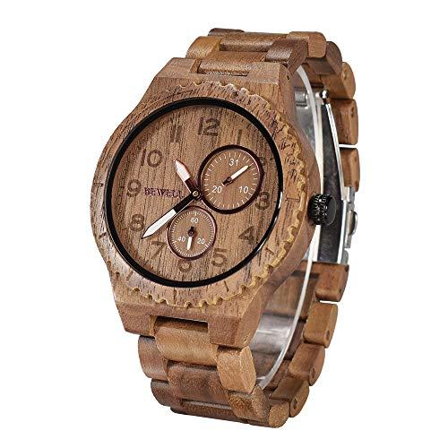 Bewell retro orologio da polso da uomo in legno naturale orologio analogico al quarzo con quadrante numeri arabi e luminoso puntatore W154A