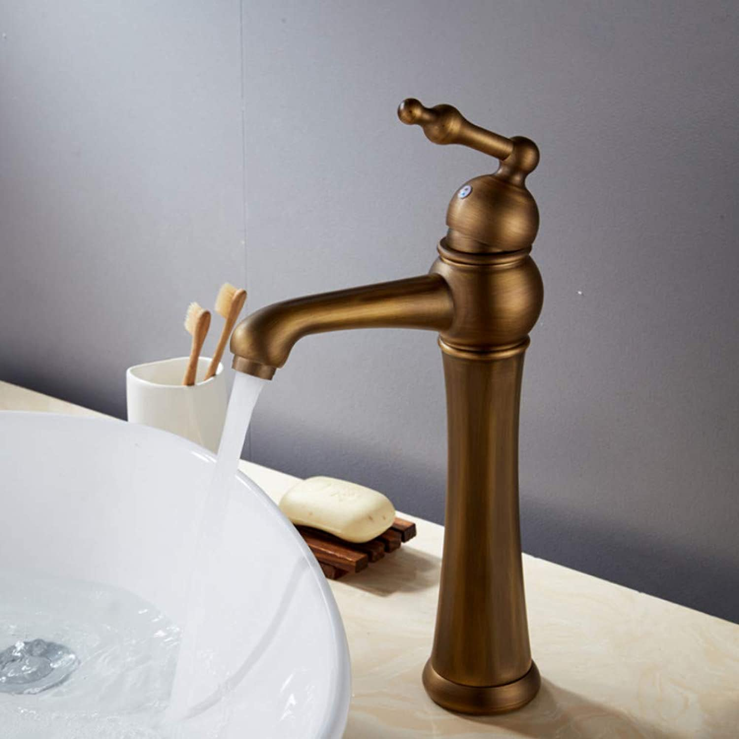 Lddpl Tap Basin Faucets Antique??Bathroom Basin Mixer Tap Brass Hot and Cold Faucet Vintage Single Hole Taps