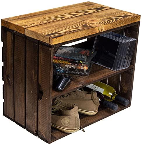 Caja de madera con asiento Johanna para fruta y tablas de madera maciza, zapatero, taburete, banco, estantería de madera, dimensiones 50 x 29 x 43 cm (largo x ancho x alto) (oscuro/flameado)