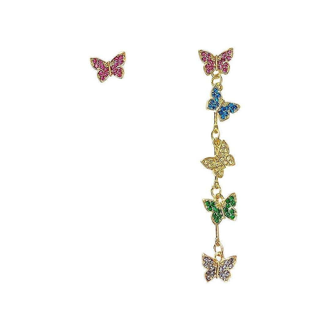 ぺディカブ素敵な悪党ZCH-CH バレンタインデー 非対称縁取ら気質のイヤリングの日本と韓国のかわいい気質色の蝶のイヤリングのデザインセンス 付属品