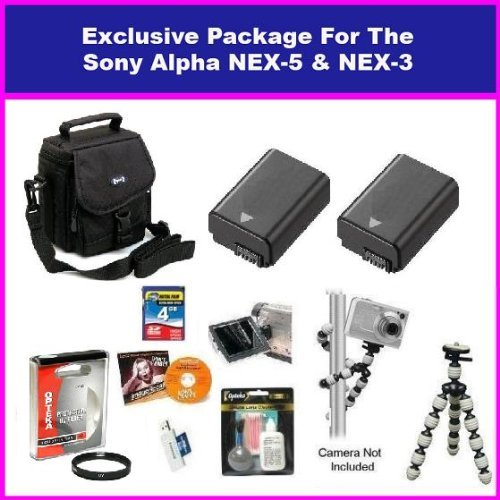 Best Value Essential Accessory package For The Sony Alpha NEX-3 & Sony Alpha NEX-5 Package Includes 4GB High Speed Error Free Memory Card, 2 spare 1500MAh Batteries, 49MM Protective UV Filter, Exclusive Carrying Case For The Nex Series, Gripster Flexible Tripod + More
