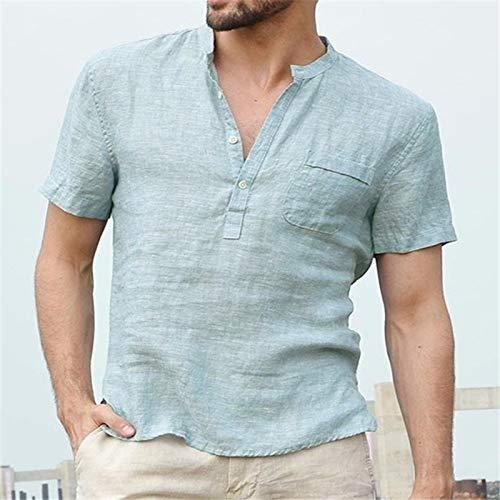 Hemd Mode New Summer Herren Casual Shirts Kurzarm V-Ausschnitt Basic Bluse Casual...