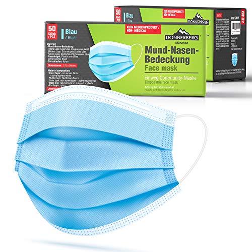 Donnerberg Gesichtsmaske 50 Stück 3-lagige Einwegmasken Atmungsaktiv Einmalmaske elastische Ohrschlaufen Maske Blau