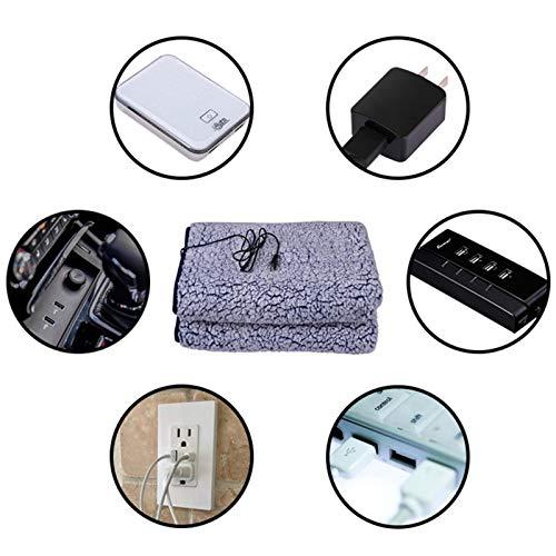 Manta de calefacción eléctrica rápida para coche, eléctrica, USB, 70110 cm, muy...