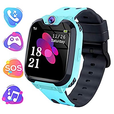 """Moweallarge Kids Game Smart Watch Phone - 1.54"""" HD Touchscreen with Music Player Games Call Camera SOS Anti-Lost Calculator Recorder Alarm Clock for 3-12 Boys Girls Birthday Gifts (Blue)"""