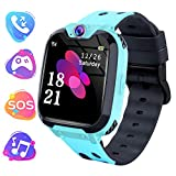 Moweallarge Kids Game Smart Watch Phone - 1.54' HD Touchscreen with Music Player Games Call Camera SOS Anti-Lost Calculator Recorder Alarm Clock for 3-12 Boys Girls Birthday Gifts (Blue)