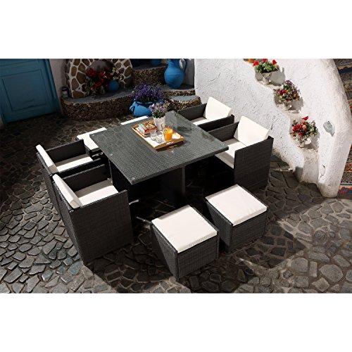 CONCEPT USINE - Salon De Jardin Miami 8 Personnes en Résine Tressée Gris Poly Rotin - 1 Table en Verre - 4 Fauteuils - 4 Poufs - Coussins Blanc - Encastrable, Résistant, Imperméable
