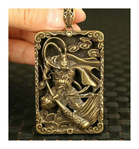 DDDCM XINSHENG Store Asiático Viejo Cobre Mano Tallado Sol Wukong Colgante Collar decoración (Color : Metallic)