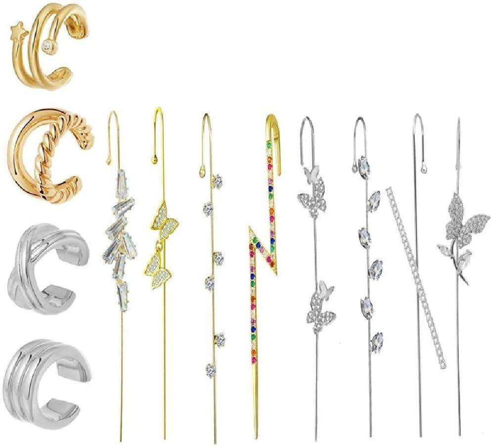 Xueebaoy 1 Set Ear Wrap Crawler Hook Earrings for Women Golden Ear Cuffs Earrings Ear Climber Earrings Clip On Cartilage Earrings Crawler Hook Earrings