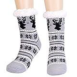 Fixget Calcetines Casa Antideslizante, Zapatillas Calcetines Mujer Invierno Polar para Niñas Alce de Copo de Nieve de Navidad Zapatillas Calcetines