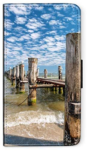 blitzversand Flip Case OSTSEE Meer Strand Urlaub kompatibel für Samsung Galaxy A3 2016 Anlegesteg Warnemünde Handy Hülle Leder Tasche Klapphülle Brieftasche Etui rund um Schutz Wallet M5