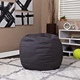 Flash Furniture Small Solid Gray Bean Bag Chair for Kids and Teens