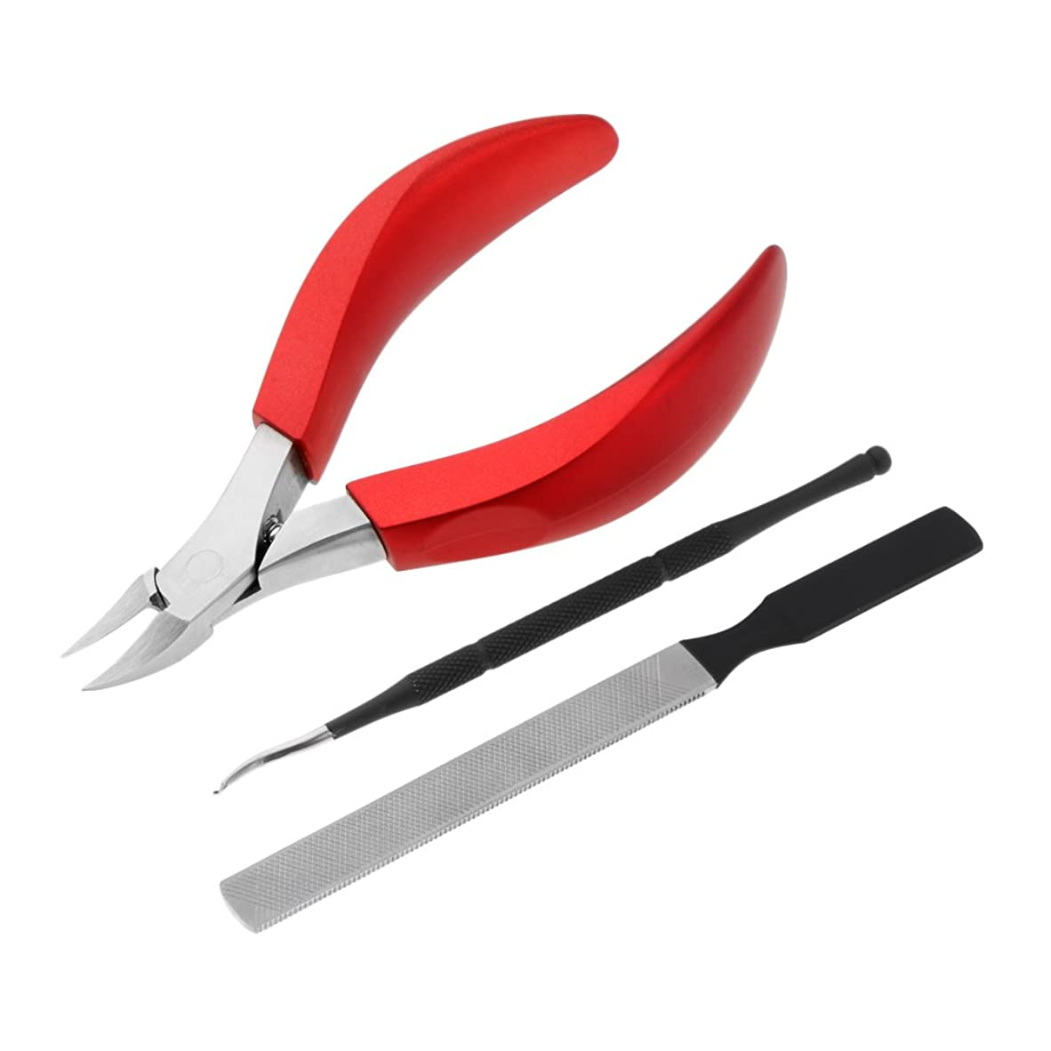 練習午後ファシズムBlesiya ネイルアート ネイルカッター キューティクルニッパー キューティクルプッシャー ネイルファイル 甘皮ニッパー ステンレス製 耐久性 3点入り 3色選べる - 赤