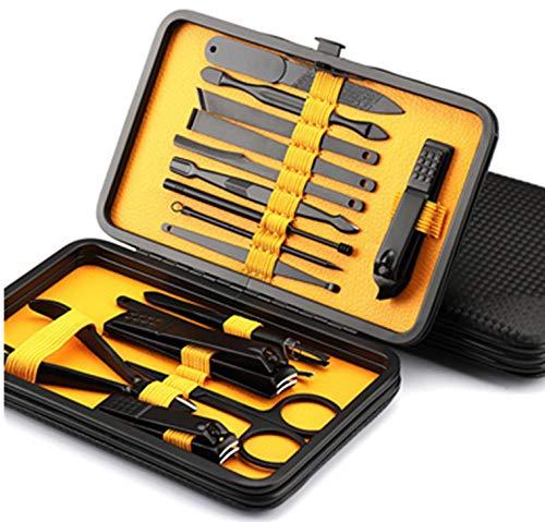 HUANGWZ Nouveaux outils de beauté de manucure multifonctionnels en acier inoxydable,ensemble de manucure de 16 pièces,y compris coupe-ongles,lime à ongles,poussée de peau morte,grattoir à ongles