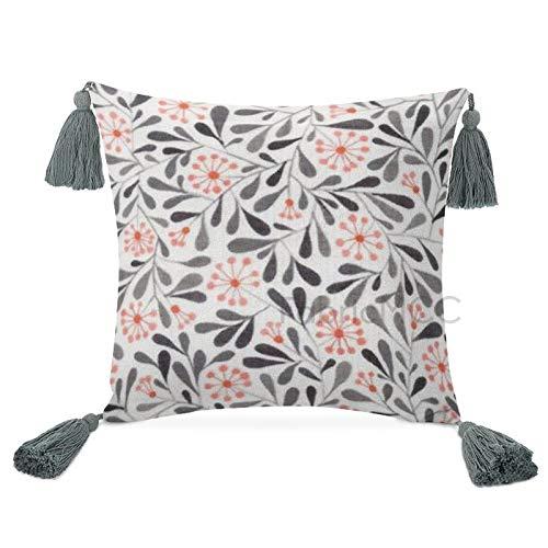 Odeletqweenry Fundas de almohada decorativas con borlas, Elliot Avenue – Eyja Floral Accent Decor Pillow para dormitorio, sala de estar o sofá de coche