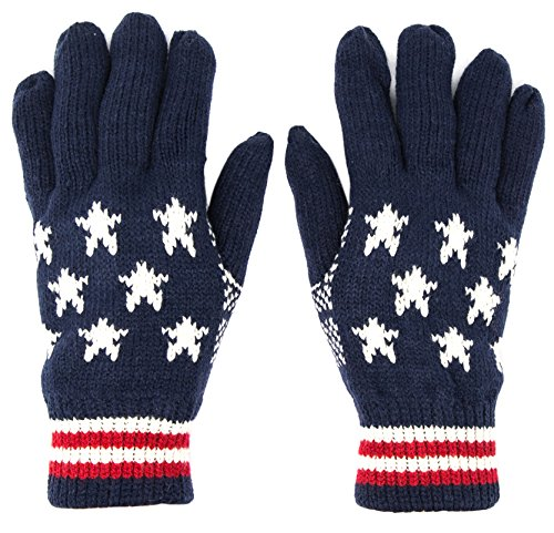 FashionTS Insulated Gloves Knit Winter Gloves Thermal Insulation (USA flag)