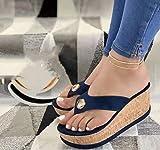 Señoras De Verano, Usar Sandalias Al Aire Libre, Tacones Antideslizantes, Zapatos De Playa Talla 35-43,Azul,43