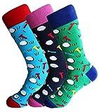 Sock Society Golf Sport Misc Unisex Men Women Fun Dress Casual Pattern Crew Funny Socks (3 Pairs)