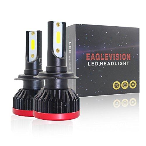 Ricoy Kit de conversion de phare LED H7 pour voiture - Ampoules COB 6000 K 60 W - 7600 lm - Design sans erreur