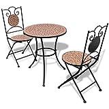 UBaymax 3 teiliges Bistro Set, Metall beschichtet Mosaik Stühle, Keramikplatten Tischplatte, Garnitur Balkontisch und Balkonstühle, Gartenmöbel Set Balkonset Bistroset für Garten, Terrasse und Balkon