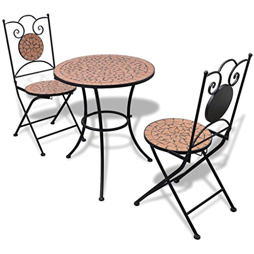 Festnight 3 Piece Bistro Set Ceramic Top Table with 2 Folding Chairs Breakfast Set Powder-Coated Iron Frame Dining Kitchen Pub Bar Patio Garden Balcony Furniture (Terracotta)