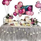 COUTUDI Faldones de Mesa Gasa de Tulle tutú decoración de la Tabla Boda cumpleaños Partido Bebe Ducha (Gris)