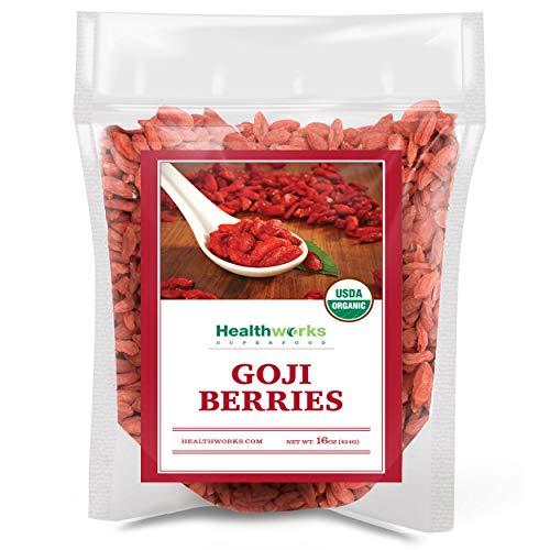 Healthworks Raw Goji Berries (16 Ounces / 1 Pound)   Certified Organic & Sun-Dried   Keto, Vegan & Non-GMO   Baking, Teas & Smoothies   Antioxidant Superfood