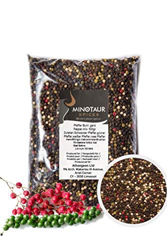 Minotaur Spices | Pfeffer bunt ganz | 2 X 500g (1 Kg) | Bunter Pfeffer aus schwarzen, weißen, grünen und Rosa Körner