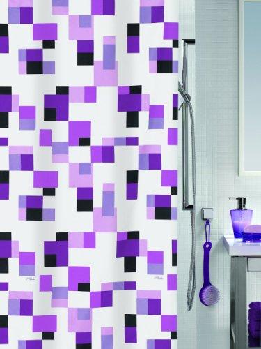 Spirella Pixel Textil-Duschvorhang Polyester Perl-Effekt 240x180cm, Weiß/Violett/Flieder/Pink/Schwarz