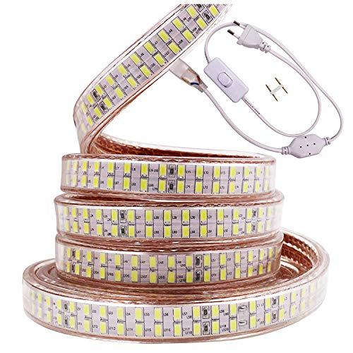 Xunata Bande lumineuse LED 15 m Blanc 220 V SMD 5730 240 LED/m IP65 Flexible LED avec interrupteur Prise EU pour Noël, fête, décoration de cuisine, jardin (blanc, 15 m)