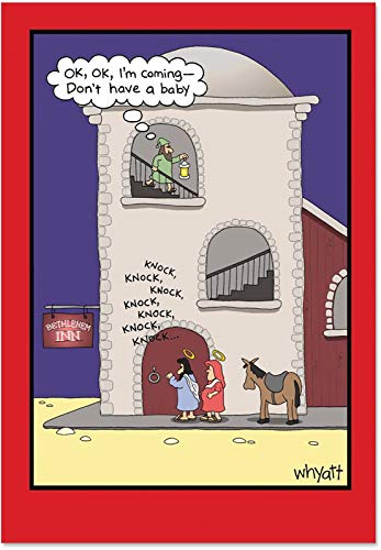 Don't Have a Baby - Humorous Religious Christmas Card with Envelope (4.63 x 6.75 Inch) - Bethlehem Inn Cartoon, Religion Happy Holidays Note Card - Funny Illustrated Merry Xmas Notecard 1651