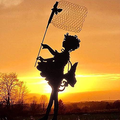LUDAXUE Staca de jardín Silueta Patio Mariposa niña Silueta Grande Vintage Metal Escultura Yarda Arte Escultura Sombra Arte para jardín Paredes de Primavera Regalo de Primavera para césped Familiares
