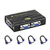 VGA KVM Switch 4 Porte + Kit Cavi + USB 2.0 Supporto HUB Microfono Audio 2048 * 1536 450 M...