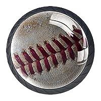 ドレッサーノブハードウェアラウンドノブ、取り付けネジ付きオフィスバスルームキッチンデコレーション用引き出しプル(4個)野球レトロ