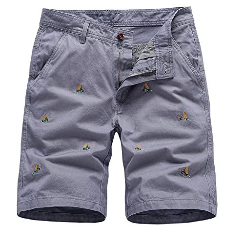 Pantalones Cortos Casuales para Hombre Casual Clásico Fit Entrenamiento de Verano Correr Cómodo Bolsillos con Cremallera Grandes y Altos Pantalones Cortos Al Aire Libre Suelto Cómodo Moda 34
