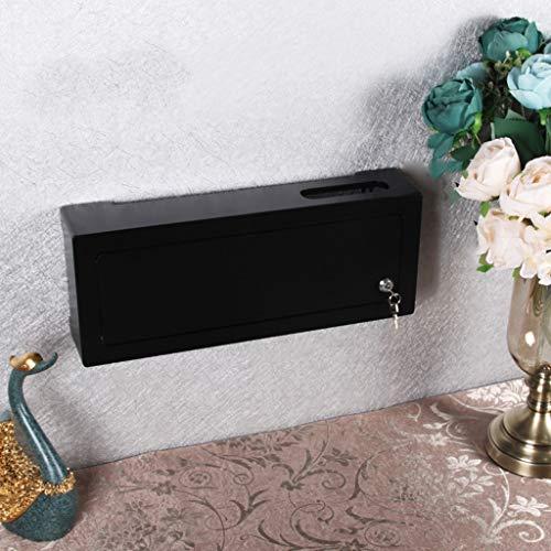 WLAN Router Set-Top-Box Lagerregal Zuhause Büro Wandregal Schwimmendes Regal Multimedia-Okklusionsbox für die Wand Steckdose Netzkabel Aufbewahrungsbox Mit Schloss (Color : Schwarz)