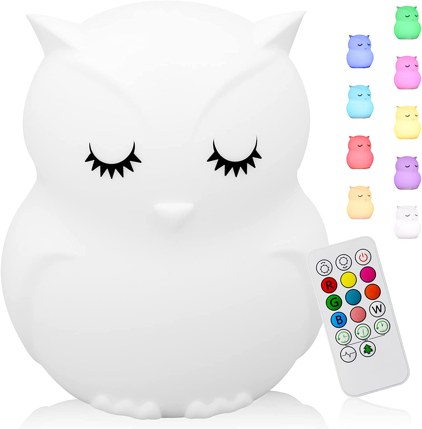 Cute At the price Cash special price of surprise Owl Kids Night Light NightLi Nursery Rechargeable Silicone