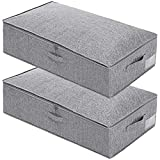 Punemi Under Bed Storage,2 Pack Clothes Storage Bags Organzier Container with 3 Handles and 2 Sturdy Zippers,Ultra Thick Fabric Folding Blanket Storage Box with Lid,30x15x6.7inch,Grey