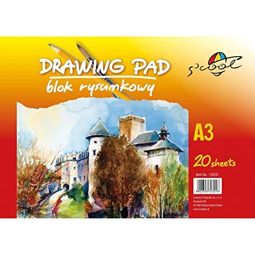 S'COOL Zeichen Papier  Skizzenblock (A3, 90 G/m², 20 Blatt)   Zeichenblock Weiß   Skizzenbuch für Drawing
