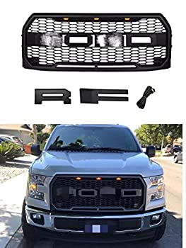 Front Grille Replacement for F-150 2015 2016 2017,Raptor Style Grille with 3 led lights,Matte Black