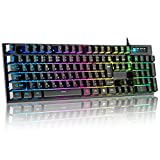 HOKONUI ゲーミングキーボード 有線 7色LEDバックライト 106キー日本語配列 USBキーボード 仕事用/ゲーム用 防水 26キー防衝突 パソコン用 在宅勤務 Windows/Mac対応 日本語説明書付き【一年間安心保証】