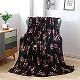 Flannel Throw Blanket for Sofa Couch Bed Black Flower Blanket Soft Lightweight Cozy Plush Blanket Black Rose Throw All Season Blanket 60'×80'