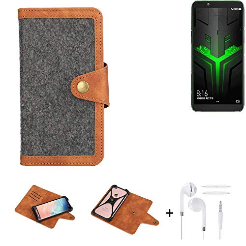 K-S-Trade® Handy-Hülle + Kopfhörer Für Xiaomi Blackshark Helo Schutz-Hülle Filz-Hülle Kunst-Leder Dunkelgrau Braun (1x)