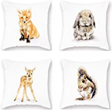 Set 4 Throw Pillow Covers Cute Forest Animals Theme Pillowcase Decor Watercolor Adorable Fox Rabbit Elk Squirrel Super Soft Cushion Cover 18x18 Home Sofa Couch Liveroom Decoration Gift (CF-Forest)