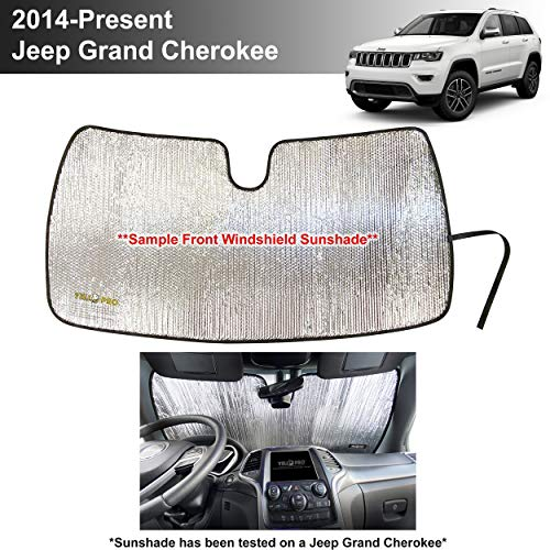 YelloPro Custom Fit Reflective Front Windshield Sunshade Accessories for 2014 2015 2016 2017 2018 2019 2020 2021 Jeep Grand Cherokee SUV, Laredo Limited Trailhawk Overland Altitude Summit