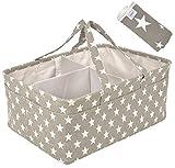 Tersy | Organizador de pañales para bebé con cambiador de regalo | más grande, más fuerte y multipropósito | organizador portátil gris con compartimentos cambiables ideal para guardería de bebé