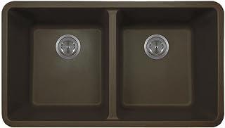 802 Double Equal Bowl Quartz Kitchen Sink, Mocha, No Additional Accessories