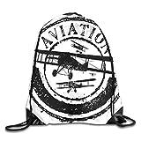 Mochila con cordón para gimnasio, siluetas de aviones volando en el cielo por encima de las nubes, mochila para escuela, deportes, viajes, mujeres, niños, regalo de cumpleaños